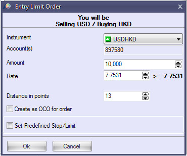 Limit Entry Order example